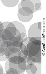 Gray translucent circles on a white background. 3D illustration