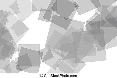 Gray translucent squares on white background. Gray tones. 3D illustration