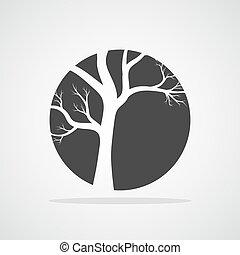 Gray tree round icon. Vector illustration