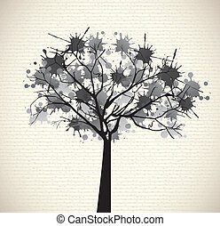 gray tree with few leaves over old background vector...