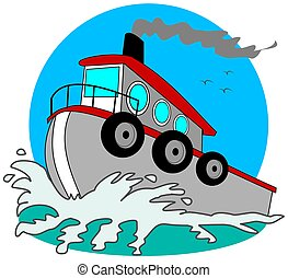 This illustration depicts a gray tugboat plowing through the water.