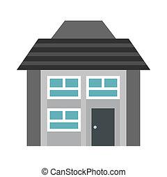 Gray two storey house icon, flat style
