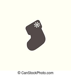 Gray vector christmas sock icon closeup isolated.