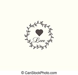 Gray vector icon in wreath nerd style and heart closeup isolated. Romantic vector pictogram