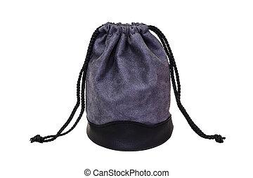 gray velvet bag isolated on white background