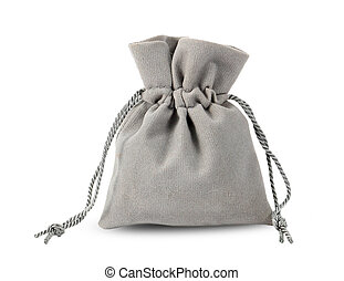 Gray velvet bag isolated on white background.
