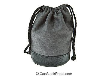 Gray velvet pouch isolated on white background