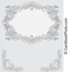 gray vintage background with floral