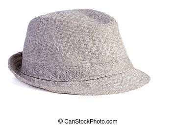 Gray vintage hat isolated on white background