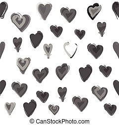Gray water painted heart seamless pattern. White isolated...