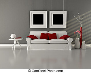 gray white and red minimalist living room - white couch with...