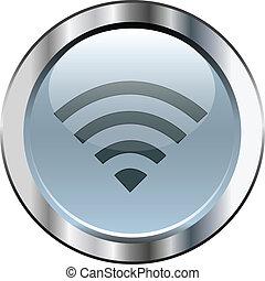 Gray wifi button with silver border
