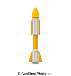 Gray with yellow missile. Vector illustration on a white background.