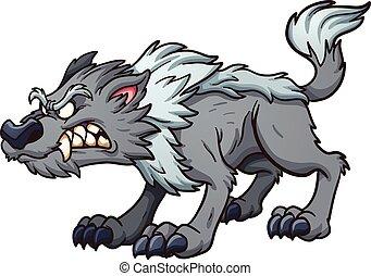 Gray wolf - Gray cartoon wolf. Vector clip art illustration...