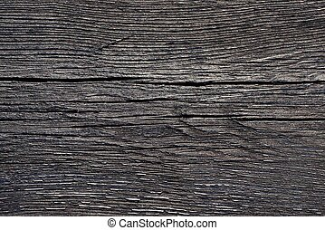 wooden texture of black crack on the old board in the wall