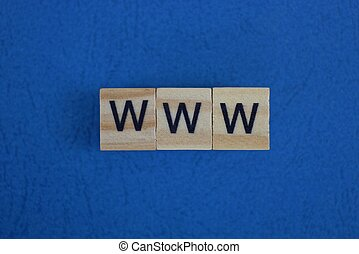 gray word www from small wooden letters