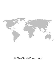 Gray world map on white background