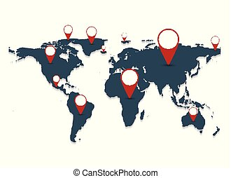Gray world map on white background. vector illustration