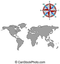 gray world map with wind rose, vector art illustration