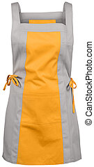 gray yellow female apron with outsets isolated on white