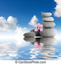 Gray zen stones and orchid sky