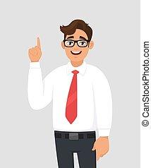 gray/grey, copie, arrière-plan., humain, annonce, doigt, portrait, dessin animé, main, something., haut, jeune, réussi, espace, indice, produit, homme affaires, illustration, introduire, pointage, émotion, concept