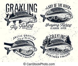 Grayling Fly Fishing Logo. The Lady of the River Arctic...