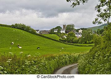 grayrigg, wieś, sceniczny