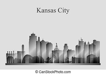 grayscale, 城市地平線, 堪薩斯, 黑色半面畫像