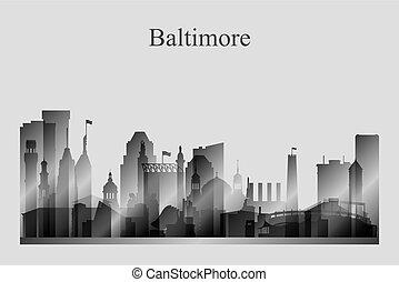 grayscale, 城市地平線, 黑色半面畫像, 巴爾的摩