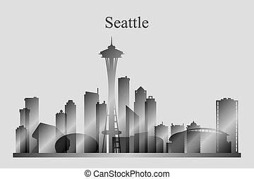 grayscale, 城市地平線, seattle, 黑色半面畫像