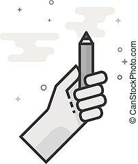 grayscale, -, 測定, 平ら, アイコン, 鉛筆