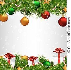 grayscale, albero, natale, ornamenti