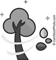 grayscale, apartamento, -, árvore, ícone
