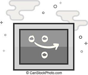 grayscale, appartamento, icona, -, strategia