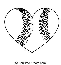 grayscale background of heart with texture of baseball ball