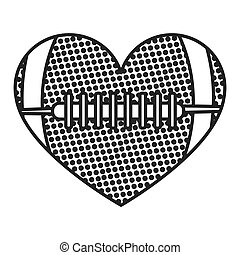 grayscale background of heart with texture of football ball