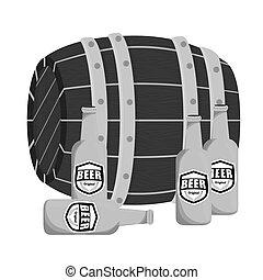 grayscale, barril madeira, com, garrafas cerveja, desenho