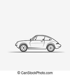 grayscale, beeld, van, de, auto