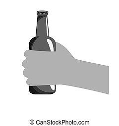 grayscale, botellas de cerveza, en la mano, icono, diseño