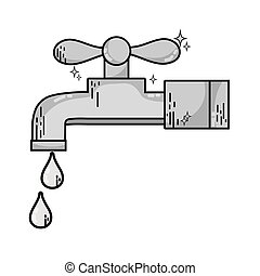 grayscale clean metal faucet with water drops