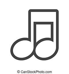 grayscale, contorno, com, nota musical, cima