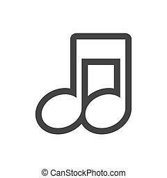 grayscale, contorno, com, nota musical