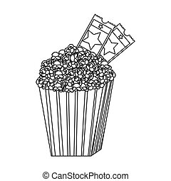 grayscale contour of popcorn container with movie tickets inside