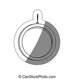grayscale contour sticker with circular frame mirror with chain