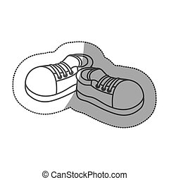 grayscale contour sticker with pair of sport shoes