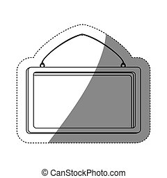 grayscale contour sticker with rectangular frame mirror with chain