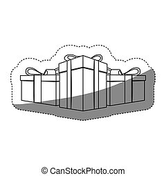 grayscale contour sticker with set of gift boxes
