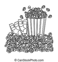 grayscale contour with popcorn container and movie tickets