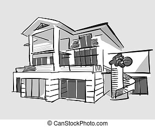 Grayscale drawing dream house